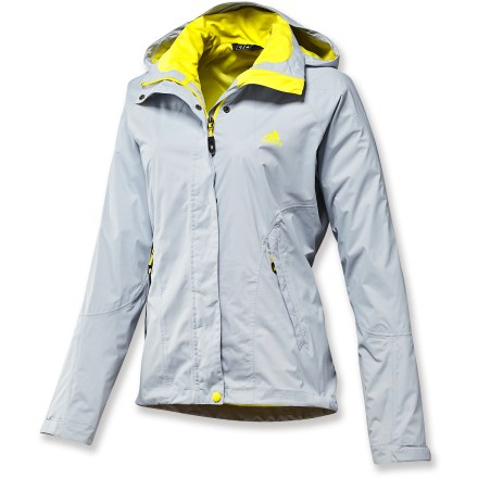 Camp and Hike The waterproof, breathable adidas Hiking 2-layer Climaproof Storm jacket for women outfits you for active adventures in wet weather. Climaproof(R) Storm waterproof, breathable coating keeps the rain and snow at bay. Quick-drying, recycled polyester lining with recycled polyester mesh adds breathability and moisture management and layers easily over base layers. 2-way, full-length zipper with draft flap helps keep the rain out. Shell features a zippered interior pocket and zippered handwarmer pockets. Hood offers volume adjustments for a perfect fit. Soft, moisture-wicking tricot lines interior chin guard and inner collar for enhanced comfort. The women's adidas Hiking 2-layer Climaproof Storm jacket has rip-and-stick cuffs and a drawcord waist. Closeout. - $97.73