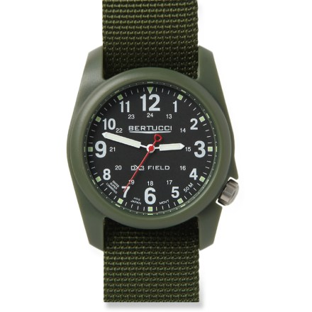 Camp and Hike The Bertucci A-2R DX3 field watch has a clean appearance that's well-suited for work, yet offers outstanding performance and durability for play. Features include a light and durable poly-resin case and a tough, woven nylon band with stainless-steel hardware. Precision all-metal Japan made movement. Swiss super luminescent hands make viewing easy in low light. The Bertucci A-2R DX3 field watch is water-resistant to 50m (165 ft.). - $44.93