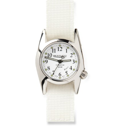 Camp and Hike The women's Bertucci M-1T Procolor Bianco watch has cool retro 1960's styling and contemporary performance and sophistication. Solid titanium case is highly polished for a brilliant finish. Precision all-metal jeweled quartz analog movement. Swiss super luminous hands and markers. 5/8-in. 2-ply nylon band is ruggedly built to last for many years. Watch is water resistant to 100m (330 ft.). - $99.93