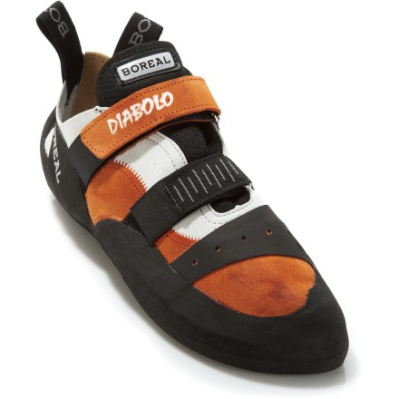 Climbing The versatile Boreal Diabolo rock shoes are a great choice for climbers looking for 1 pair of shoes to do it all. They're ideal for training at the gym or a full day of climbing outdoors. High-quality split leather uppers feature rip-and-stick closures that allow you to achieve a custom fit. Moderately stiff soles are great for edging, yet they provide enough sensitivity for smearing. 4 - 4.6mm-thick Boreal FS-QUATTRO rubber is extremely sticky and highly abrasion resistant; rubber provides consistent performance across a range of temperatures. The Boreal Diabolo rock shoes have high rubber rands that wrap around the toes, sides of feet, and ankles to resist abrasion. - $88.93