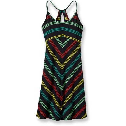Entertainment The jaunty Spright dress is totally smart and totally summer! A feminine racerback, narrow straps and above-the-knee length transform you into a sun goddess. - $15.83