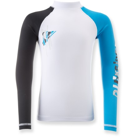 Surf Like a second skin with built-in sun protection and abrasion resistance, the Quiksilver Over Ruled rashguard is ideal for sunny surf days or as a layer underneath a wetsuit. Nylon/spandex blend stretches for a perfect fit; slick surface protects skin from irritation. UPF 50+ fabric offers excellent protection from the sun. Flat-knit seams minimize chafing. - $20.93
