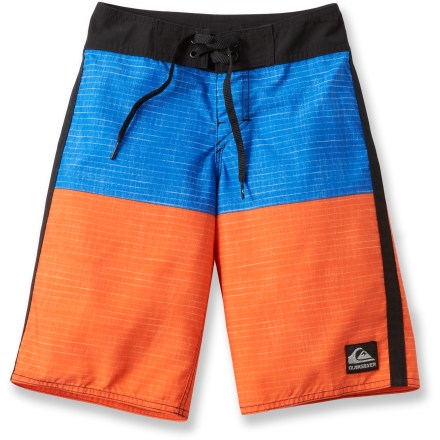 Surf The Quiksilver Magic Fish board shorts feature fun graphics that appear when the shorts get wet and fade as they dry out. Combine that with sweet comfort, and your kid will be like a fish in water! Sueded, water-repellent polyester fabric is lightweight and dries fast. Magic Fish board shorts have a classic, surf-style drawstring waistband and a back pocket with rip-and-stick closure. - $33.93