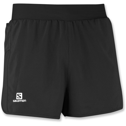 Fitness Running long distances is more comfortable with a minimum of fabric, and the Salomon Light shorts for men offer just the right amount of coverage for training. Lightweight, stretch-woven fabric and liner shorts wick moisture and dry quickly. Adjustable drawstring keeps the shorts in place as you bound across the trail; 2 gel pockets store energy food. The Salomon Light shorts have an active fit that moves with you. - $39.93