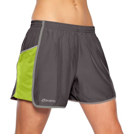 Fitness Ready to take on serious mileage or just go for a stroll, the women's SportHill Forest Park II shorts are designed to wick moisture and dry quickly so you can push your pace in comfort. MIcroLite(TM) stretch polyester wicks away moisture and dries quickly, keeping your skin happy even while running in hot weather. Pixel Mesh(TM) liner and MIcroWick Knit mesh side panels promote moisture transfer and breathability. 4 in. inseam allows complete coverage without excess bulk. Back pocket with hidden zipper; interior key pocket. Side mesh panels double as drop pockets with rip-and-stick closure for holding keys, phone or other items while you're on the go. Elastic waistband with internal drawcord. SportHill Forest Park II shorts feature reflective logos for increased visibility in low light. Closeout. - $27.73
