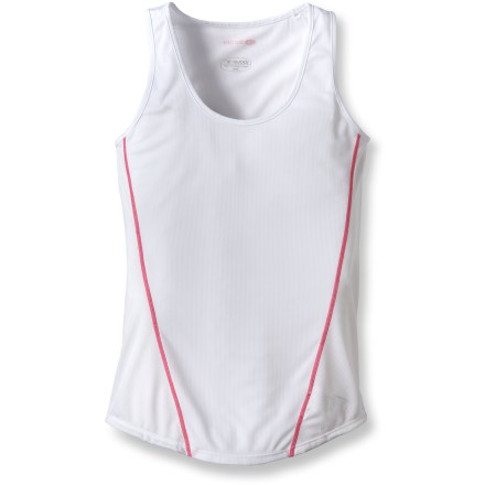 When you want only the lightest layer for a warm-weather workout, the Sugoi Jackie singlet has you covered without weighing you down. Lightweight, breathable mesh keeps you cool and comfortable. Knit polyester fabric wicks moisture away and dries quickly; polyester mesh on the back and sides offers increased breathability. Side seams are angled forward to reduce chafing and irritation. Sugoi Jackie singlet features a droptail hem for increased coverage. Closeout. - $11.73
