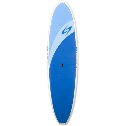 Surf Ready for fitness, fun and exploration, the Surftech Universal 10 ft. 6 in. stand up paddleboard offers a stable platform for any paddling pursuit. Designed by shaping expert Randy French, this board is designed for stability and glide and is a great choice for flatwater touring and light surf. 10 ft. 6 in. length maneuvers well in waves and tracks when exploring flat water. Full rails and a wide platform enhance stability so you can focus on the fun of the paddle. High-quality, pressure-molded EPS core is watertight; should you ding your board, water will not enter and weigh the board down as it might with cores of lesser quality. Waterproof EPS core is encased in multiple layers of fiberglass and high-quality epoxy resin to create a lightweight, highly responsive board; EPS core is fully recyclable. In addition to ensuring a comfortable experience underfoot, integrated Softop EVA deck offers reliable wax-free traction when paddling in the standing or kneeling position. Center fin and 2 side fins promote straight tracking in the water. Center handle makes transporting the 32.5 lb. Universal 10 ft. 6 in. paddleboard a breeze. - $1,175.00