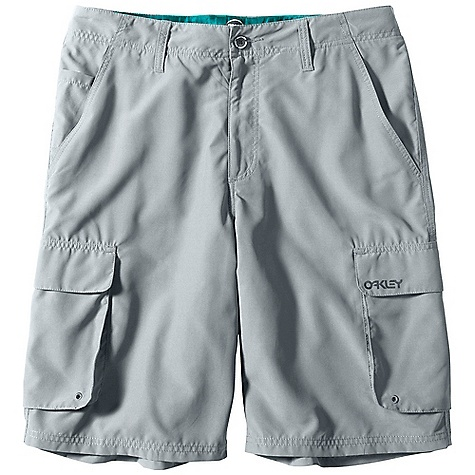 Free Shipping. Oakley Men's Wheelie Cargo Short DECENT FEATURES of the Oakley Men's Wheelie Cargo Short Button closure and zip fly offer a comfortable fit Mesh-lined side slit pockets and coin pocket provide easy-access storage Mesh-lined Velcro flap pockets at legs and back waist deliver secure storage Quick-drying microfiber fabric creates lightweight comfort in and out of the water Outseam: 23in. on 28in.- 40in. waist size Part of The Jupiter Collection 100% Polyester Fit: Cargo - $55.00