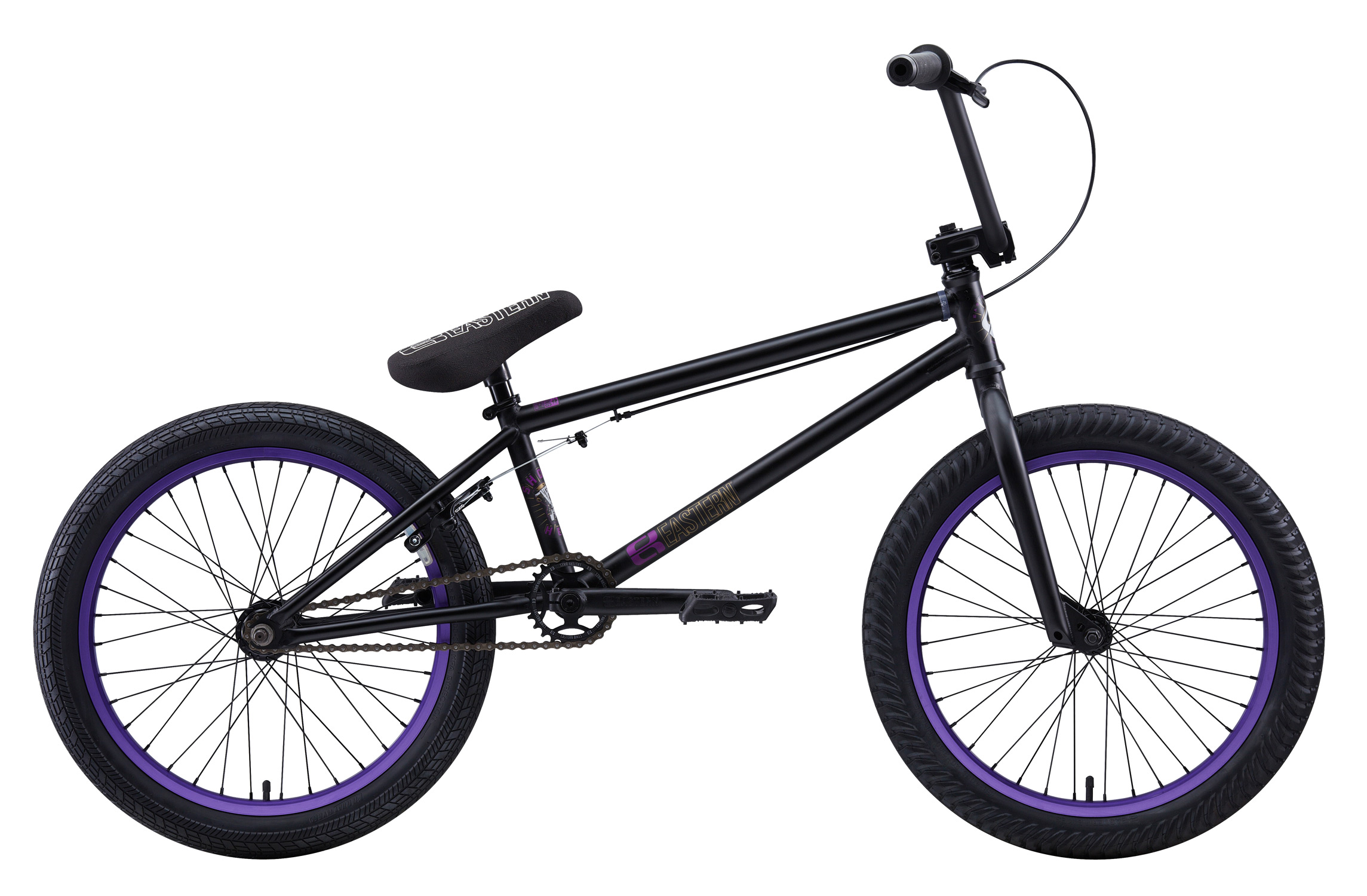 "BMX Key Features of the Eastern Shovelhead BMX Bike: WEIGHT: 24.9 lbs TOP TUBE SIZE: 21"" COLORS: Matte Green/Gold, Matte Black/Purple GEARING: 25/9 Micro-drive FRAME: Full 4130 Chromoly Shovelhead frame, Integrated headset, mid BB and holes for replaceable gyro tabs.***** 78mm wide BB to allow for wider tire clearance. Eastern Promise: lifetime warranty*, lifetime upgrade policy** FORK: Eastern Full 4130 Chromoly, Tapered Legs & Hangfree Dropout Design, 35mm Offset BARS: Eastern FULL 4130 chromoly 8.5""x 28.5"" w/ 2mm Wall Thickness on Grip Tube & 1.2mm Thickness on Crossbar, 1"" Upsweep, 12"" Backsweep HEADSET: Sealed Bearing 45/45 Integrated BB: Sealed Bearing, Mid Bottom Bracket PEDALS: Eastern Crown pedals GRIPS: Eastern Truffle Grip STEM: Eastern Forged Alloy Frontload SPROCKET: Eastern Phorcys 25T 6061 Alloy CRANKS: Eastern 175mm, tubular chromoly heattreated 3pc. cranks w/ 8 spline spindle SEAT: Eastern logo 1pc. seat and alloy post combo, Durable Nylon Cover, and Stitched Logo SEATPOST: Alloy post included with seat TIRES: FRONT - Eastern Curb Monkey 20"" x 2.3"" OEM REAR - Eastern Fuquay Flyer 20""x 2.3"" OEM FRONT HUB: Sealed Bearing, 36 hole Alloy Shell, 3/8"" Chromoly axle REAR HUB: Fully Sealed 36 hole cassette hub, Forged Alloy Shell, 1pc. 9-tooth chromoly driver, 14mm chromoly axle, 5 sealed bearings. RIMS: Double Wall Alloy, 36 Hole REAR BRAKES: Tektro Forged Alloy U-Brake / Straight Cable / Eastern 6061 Forged Lever w/ Hinged Clamp FREEWHEEL: Sealed bearing 9-tooth 1pc. driver CHAIN: KMC Z510H SEAT CLAMP: Eastern Slant Forged PEGS: 2 pegs - $321.95"