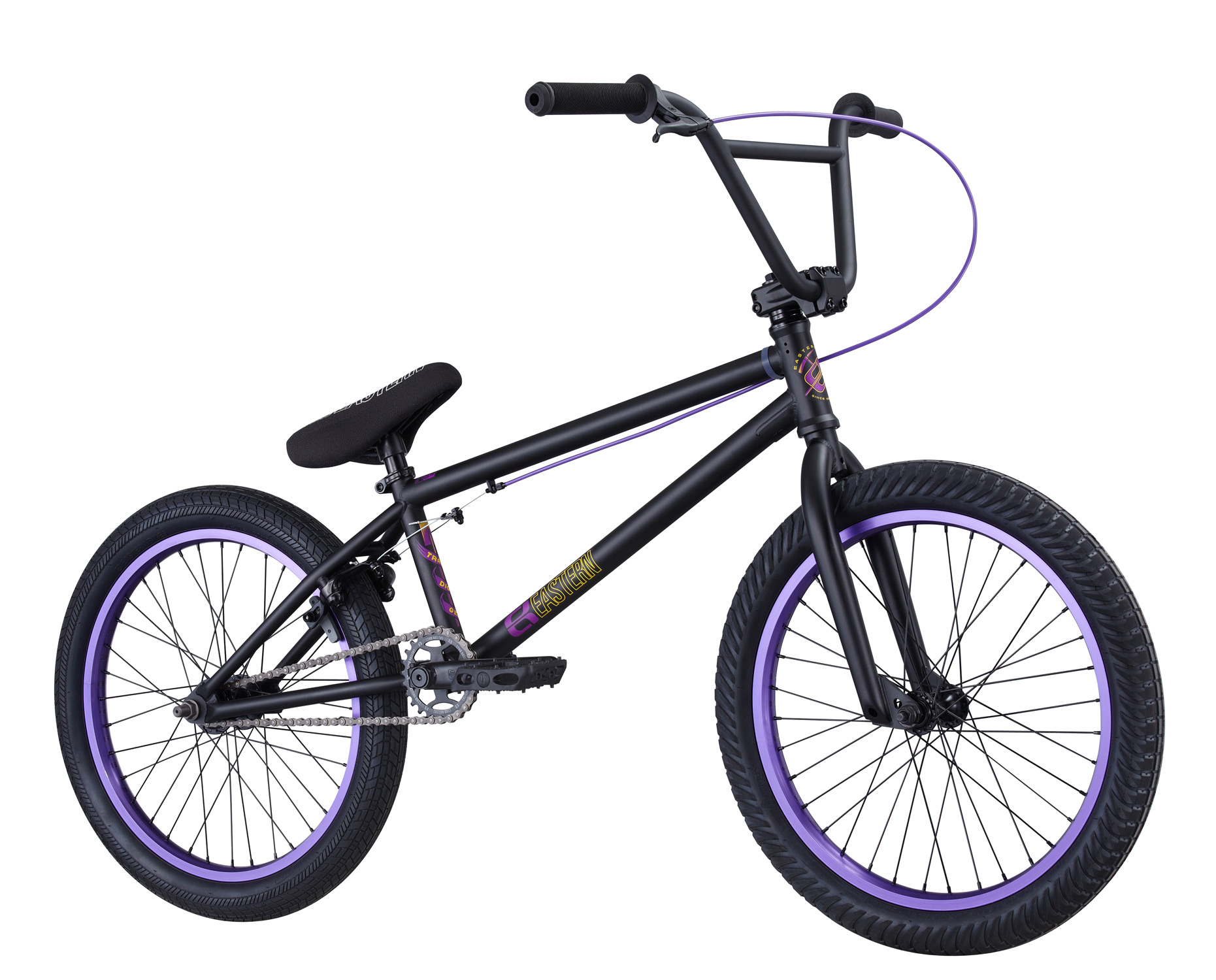 "BMX Key Features of the Eastern Traildigger BMX Bike: WEIGHT: 26 LBS TOP TUBE SIZE: 21"" COLORS : Matte Black/Purple, Matte Black/Red, Gloss White GEARING: 25/9 Micro-drive FRAME: Traildigger frame w/ 4130 chromoly downtube, integrated headset & mid BB. Holes for replaceable gyro tabs. 78mm wide BB to allow for wider tire clearance. Eastern Promise: lifetime warranty*, lifetime upgrade policy** FORK: Eastern Full 4130 Chromoly w/ Tapered Legs & Hangfree Dropout Design BARS: Eastern 8.5""x 28.5"" , 1"" Upsweep, 12"" Backsweep HEADSET: Sealed Bearing 45/45 Integrated BB: Sealed Bearing, Mid Bottom Bracket PEDALS: Eastern Crown Pedals GRIPS: Eastern Truffle Grip STEM: Forged Alloy Front Load SPROCKET: Eastern Phorcys 25T steel CRANKS: Tubular chromoly heat-treated 3pc. cranks with 8 spline spindle SEAT: Eastern logo 1pc. seat and alloy post combo, Durable Nylon Cover, and Stitched Logo SEATPOST: Alloy post included with seat TIRES: FRONT - Eastern Curb Monkey 20"" x 2.3"" OEM REAR - Eastern Fuquay Flyer 20""x 2.3"" OEM FRONT HUB: Sealed Bearing, 36 hole Alloy Shell, 3/8"" Chromoly axle REAR HUB: Fully Sealed 36 hole cassette hub, Forged Alloy Shell, 1pc. 9-tooth chromoly driver, 14mm chromoly axle, 5 sealed bearings. RIMS: Double Wall Alloy, 36 Hole REAR BRAKES: Tektro Forged Alloy U-Brake / Straight Cable / Eastern 6061 Forged Lever w/ Hinged Clamp FREEWHEEL: Sealed bearing 9-tooth 1pc. driver CHAIN: KMC SEAT CLAMP: Eastern Slant Forged PEGS: 2 pegs - $399.99"