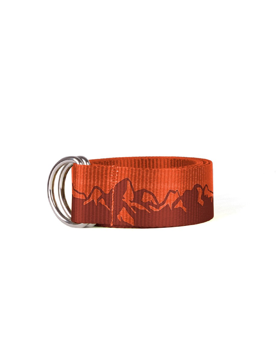 "Ski Teton mountain graphic printed on 1.5"" CROAKIESI Polyester webbing belt with brushed aluminum artisan buckle._ - $25.50"