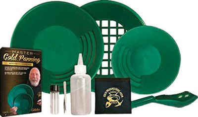 Camp and Hike Youll find everything you need to start gold panning with this money-saving GPAA Master Kit. Includes a 14 pan; 10 pan; 14 classifier with standard 1 insert; scoop; snuffer bottle; tweezers; 4-oz. gold vial; small GPAA carry pouch; Cabelas/GPAA gold-panning DVD featuring Kevin Hoagland; Exclusive offer for 1-year membership to Gold Prospectors Magazine; Exclusive discounted offer for GPAA membership. The special One-year membership to GPAA gives you access to over 350 member-exclusive claims, providing you with a large number of private panning sites. Whether youre just getting into panning or looking to expand your knowledge, this set is the perfect way to further your prospecting hobby. Made in USA. Color: Gold. - $69.99