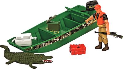 Entertainment Your little hunter will love this outdoors-themed Jon Boad Crocodile playset. Includes an 8.3 jon boat with storage compartments; 4 fully articulated action figure; 5 crocodile; rifle; gas can; cooler and ammo box. Compatible with all Cabelas Imagination Adventure products. - $5.88