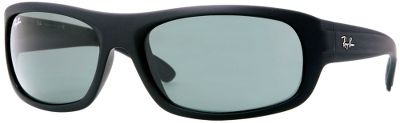 Entertainment Ray-Bans RB4166 Non-Polarized Sunglasses have a sharp-looking, square shape, the smooth edges of glass-crystal lenses provide clearer vision and are made with 100% UV protection. Saddle bridge for comfort. Includes carrying case and cleaning cloth.Available: Crystal Green Lenses/Black Rubber Frames. - $125.00