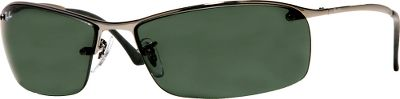 Entertainment Ray-Bans slim and sleek RB3183 Top Bar sunglasses feature a lightweight semi-rimless rectangular shape that suits both men and women. Metal frame is both comfortable and durable for long-lasting wear. Soft, adjustable nose pads for comfort and fit. Glass crystal lenses for optimum clarity. Available: Crystal Green Lenses/Gunmetal Frames. Color: Gunmetal. Gender: Unisex. Age Group: Adult. - $135.00