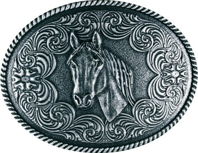 Entertainment For any equine enthusiast, the Western Edge Oval Horsehead Buckle boasts a loving tribute to a timeless tradition. Made of zinc alloy with an antique-nickel-silver plate finish.Dimensions: 3H x 4W. - $24.99