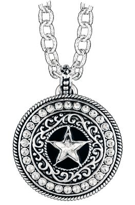 Entertainment Bearing a centerpiece reminiscent of the classic sheriffs star, this gorgeous concho-shaped pendant from Western Edge dangles from a 16 chain with a 3 extender. Made of brass alloy and plated in tarnish-resistant silver plating, the embellishments and crystal stones add that perfect amount of cowgirl-worthy bling. Imported.Chain length: 16 chain with 3 extender.Pendant dimensions: 1-5/8 diameter. - $39.99