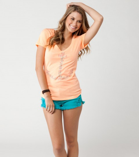 Surf O'Neill Day Joy Tee.  60% Cotton / 40% Polyester.  Heather slim V with neon inks (grey). - $15.99
