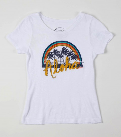 Surf O'Neill Girls Aloha Tee.  100% Cotton.  Vintage slub surfer tee with sugar glitter. - $22.00