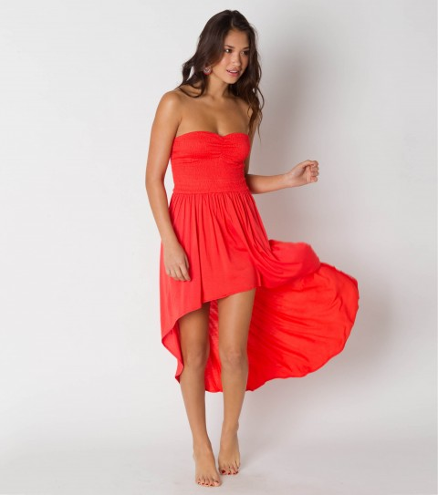 Entertainment O'Neill Neptune Coverup Dress.  100% Cotton.  Shirred bodice; sweetheart neckline; high-low hem. - $36.99