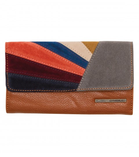 Surf The O'Neill Chelsea Wallet is a faux leather checkbook wallet with faux suede patch detail; snap closure; and metal logo strip.  Dimensions:  3 3/4''H x 7''W x 3/4''D - $28.00