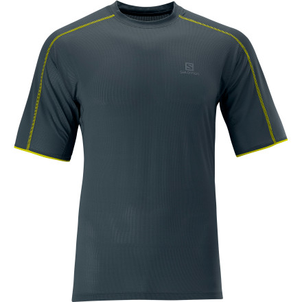 Camp and Hike The Salomon Men's Trail Runner T-Shirt moves moisture away from your skin and dries in a hurry so you won't feel stifled by sweat on your long runs. Flat seam construction makes this shirt comfortable right down to its finest details, too. - $44.95
