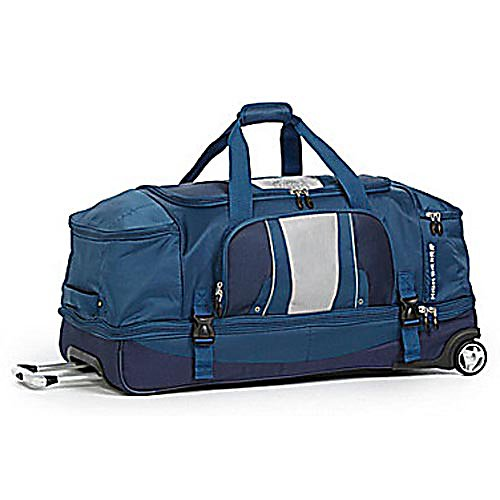 Entertainment High Sierra Evolution 34 Inch Wheeled Duffel Bag - For a lightweight, wheeled bag that you are sure to enjoy pick up the High Sierra Evolution 34 inch Wheeled Duffel Bag. This lightweight bag is used for outdoor gear and features a high-density foam structure that will keep the bags shape. The main compartment provides plenty of storage space and features a U-shaped opening that allows you to access your gear quick and easy. There is a drop compartment that is perfect for your footwear and a zippered divider panel keeps your gear apart from each other in the upper and lower compartments. A lightweight aluminum handle and corner sport wheels make transporting the High Sierra Evolution 34 inch Wheeled Duffel easy to transport. Features: Recessed, telescoping lightweight aluminum handle system with locking mechanism., Corner mounted sport wheels., Bottom has protective feet to keep bag off the ground., Durable webbing handles with padded wrap and padded grab handle on the end.. Material: Nylon, Mini-Diamond Ripstop, ID Tag: Yes, Side Pocket: Yes, Model Year: 2012, Product ID: 296927 - $159.99