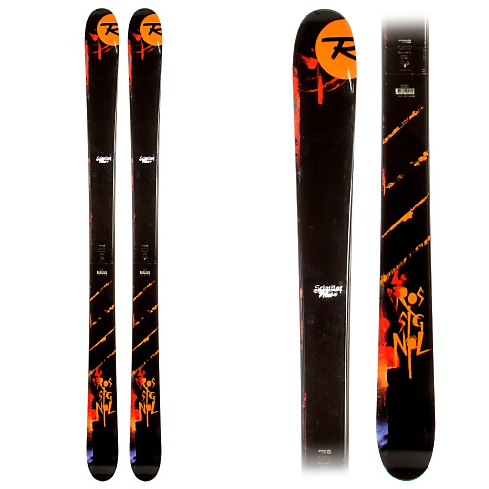 Ski Rossignol Scimitar Skis - The Scimitar is a sick jib stick that has plenty of all mountain capabilities. If your day includes backcountry booters, a few pow laps, or a run or two down a freshly cut pipe the 98mm waisted Scimitar is for you. The Spin Turn Rocker is 100% full banana shaped, so the ski has a ridiculously low swing weight, with lots of pop in the tip and tail. This construction style ensures that the Scimitar is able to surf and float in some pow too. An extended sidecut continues beyond the contact points so the Scimitar can hook up on your winding in runs for your table top sessions. The Jib Tip is equipped with a rubber layer for shock absorption and durability, while keeping a low profile for step ups on to rails and switch skiing. The Rossignol Mini Cap construction has a wood core and 30 degree sloping sidewalls to strengthen the topsheet of the ski without adding weight. The Scimitar has a Jib Absorption System which is a thick rubber layer between the sidewall, edge, and in the tip and tail for absorbing big landings and increased durability. If Jibber Joe is your name the Rossignol Scimitar is a great choice for you. Features: WRS (Weight Reduction System). Tip/Waist/Tail Widths: 128/98/121 (@185cm), Actual Turn Radius @ Specified Length: 21.3m (@185cm), Warranty: One Year, Type: All-Mountain Wide Skis (91-110), Gender: Mens, What Binding is Included?: None, Construction Type: Cap/Sidewall, Core Material: Wood, Base Material: Sintered, Tail Profile: Twin, Special Features: Spin T - $249.95