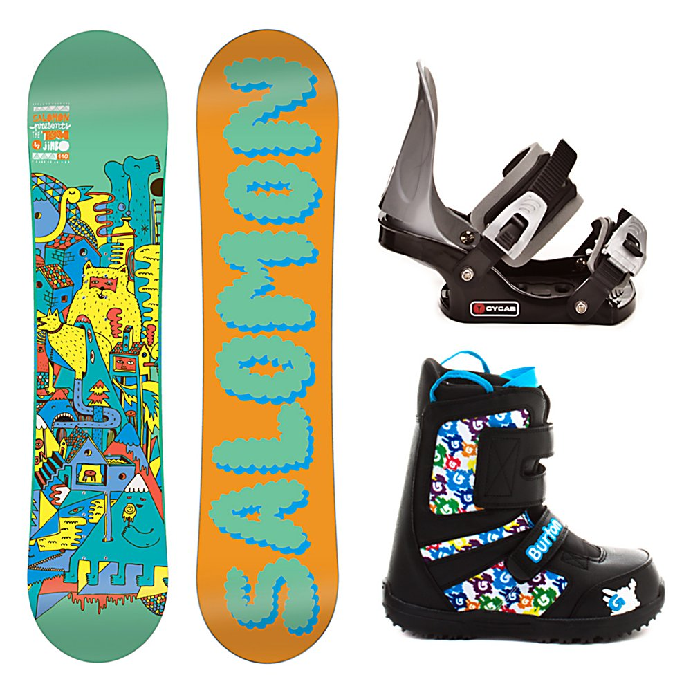 Snowboard Salomon Team Junior Grom Kids Complete Snowboard Package - Light, soft and strong, the Salomon Team Boys Snowboard Package will allow your mini shred to take their performance to the next level. Quadratic Sidecuts allow a blend of elliptic curves for easy turn initiation, effortless direction changes and fluid edge to edge transitions. Teamed up with ABS sidewalls allow for a much smoother ride and less impact felt when landing. Designed with Flat profile and built bomb-proof with durable Biaxial Density Glass construction. The Salomon Team is the board of choice for groms looking to push the envelope in freestyle progression. The no frills CYCAB C2 Junior binding is included in this package and will get the job done as your childs first binding. A metal back will offer the support your child needs that plastic does not offer. Rounding out this package is the user friendly and versatile Burton Grom boot. The super simple oversized Velcro straps provide adjustments on-the-fly, even with gloves or mittens on. As we all know, it is important to Jr. that he is able to do things for himself as this can instill him with a sense of accomplishment. And as parents, Burton has us covered, too. They have equipped the Grom with the lightweight DynoLite outsole that has a handy growth feature that indicates how much space is left and when it's time to remove the Room to Grow footbed to gain an extra full size. Also, the outsole construction provides a soft flex for better balance and the liner is made of premium Thinsulate insulation to keep the - $199.99