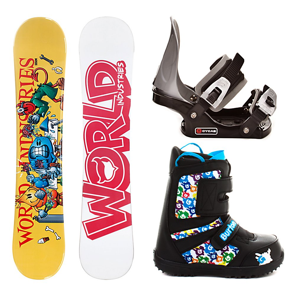 Snowboard World Industries Operation C2 Junior Grom Lace Kids Complete Snowboard Package - If you're looking for a great board for your little one, but don't want to empty your wallet in the process, the World Industries Operation Snowboard is perfect for you! This high quality board is made for a beginner to intermediate rider. The soft flex pattern makes the board very forgiving so learning how to carve is a piece of cake. The Operation Snowboard can be shredded in the park as well. The cap construction makes this board very lightweight for your little one to use with ease. The no frills CYCAB C2 Junior binding is included and will get the job done and work great as your kids first binding. A metal backing will offer support where plastic fails to do so. Once your li'l ripper slips on his new Groms he'll be gone. With the oversized-design of the new Shred Ready straps, he'll be in and out all by himself. The new GromTech outsole is extra soft for improved traction and comfort; while the Room-to-Grow footbed means mom isn't buying new boots every season. Thinsulate insulation brings it all together to keep those li'l piggies toasty all day in the snow. (Please note that since this is a package item, it may be shipped in multiple packages from different locations. In some cases, your items may arrive on different days and/or from different carriers). . Recommended Use: All-Mountain, Snowboard Rocker Profile: Camber, Package Type: Board, Boots, and Bindings, Product ID: 257568, Gender: Boys - $199.99