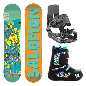 Snowboard Salomon Team Grom Kids Complete Snowboard Package - Light, soft and strong the Salomon Team Snowboard Package will allow your mini shredder to take his skill to the next level. Quadratic Sidecuts allow a blend of elliptic curves for easy turn initiation, effortless direction changes and fluid edge to edge transitions. Teamed up with ABS sidewalls allow for a much smoother ride and less impact felt when landing. Designed with Flat profile and built bomb-proof with durable Biaxial Density Glass construction. The Salomon Team is the board of choice for groms looking to push the envelope in freestyle progression. The comfortable and easy to ride in Salomon Team binding is also included in this package. Salomon made every part of this kids binding to be fully adjustable the highback, straps, padding, heel cup everything can be tweaked to match your kids foot. Plush EVA padding on the baseplate cushion impacts, aluminum buckles cinch down in a snap, and 3D anatomic straps provide a secure fit. Rounding out this package is the user friendly and versatile Burton Grom boot. The super simple oversized Velcro straps provide adjustments on-the-fly, even with gloves or mittens on. As we all know, it is important to Jr. that he is able to do things for himself as this can instill him with a sense of accomplishment. And as parents, Burton has us covered, too. They have equipped the Grom with the lightweight DynoLite outsole that has a handy growth feature that indicates how much space is left and when it's time to remove the Room to Grow footbed to gain an extra full size. Also, the outsole construction provides a soft flex for better balance and the liner is made of premium Thinsulate insulation to keep the tootsies nice and warm. Everything necessary to encourage a life long passion for the mountain. . Recommended Use: All-Mountain Freestyle, Snowboard Rocker Profile: Flat, Product ID: 295438, Gender: Boys, Package Type: Board, Boots, and Bindings - $219.99
