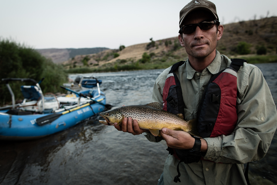 Flyfishing Angler catches a brown trout on Utah's famous Green River at the boat ramp