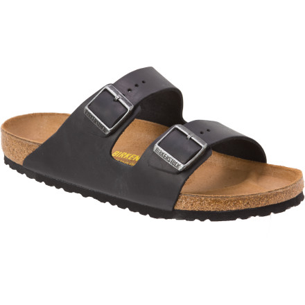 Surf Most people slip off their shoes when they want to relax. But since you wear Birkenstock Arizona Leather Sandals, you slip your shoes on when you want to relax. Soft cork and latex footbeds cushion your feet for total comfort, and the open-toe design lets your feet get all the sun and fresh air they can handle. - $107.96