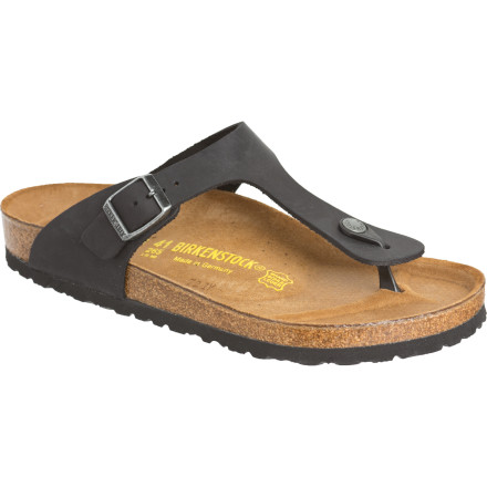 Surf The Birkenstock Women's Gizeh Oiled Leather Sandals mix classic Birkenstock comfort with innovative style. Cork and latex footbeds mold to your feet for insane comfort while the flip-flop look gives you a casual, carefree style. Wear these around the house when you just want to feel good or where them to work when you want summery foot fashion that just looks good. - $107.96