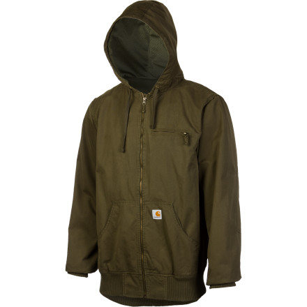 You love the soft comfort of a zip-up hoodie, but standard zip-ups aren't up to snuff with your hard-wearing work days. Worry not, the Carhartt Men's Eldin Active Jacket has you covered. The lightweight cotton canvas features triple-stitched seams and reinforced elbow patches for durability while a special garment wash gives the Eldin a soft and comfortable feel. - $76.97