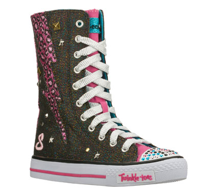 Fun and fashion are hers in a flash with the SKECHERS Twinkle Toes: Shuffles - Hot Shot shoe.  Soft woven glitter finish canvas fabric upper in a lace up casual high top sneaker with stitching and overlay accents. - $54.00