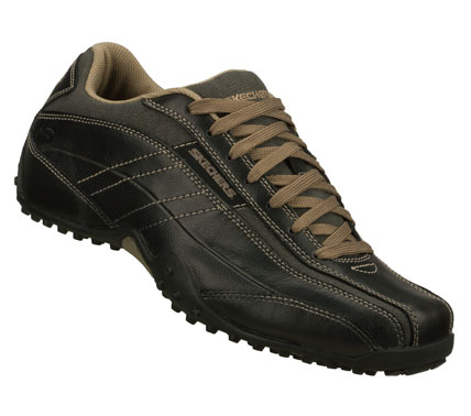 Style and confidence come easier wearing the SKECHERS Urbantrack - Vall shoe.  Smooth leather; nubuck leather and fabric upper in a lace up casual sporty oxford with stitching and overlay accents. - $62.00