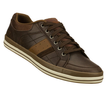 Sleek sporty style comes with extra comfort in the SKECHERS Relaxed Fit(R): Diamondback - Goden shoe.  Smooth leather upper in a lace up classic casual sneaker with stitching and overlay accents. - $59.00