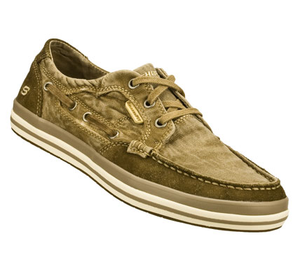 Life goes sailing along wearing the SKECHERS Relaxed Fit(R): Diamondback - Leroy shoe.  Soft faded canvas fabric and suede upper in a lace up casual comfort boat shoe with stitching and overlay accents. Memory Foam insole. - $60.00