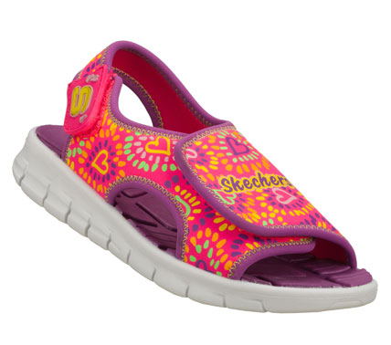 Surf Warm weather style and comfort comes in the SKECHERS Synergize - Sunlovers sandal.  Soft neoprene fabric upper in a sporty casual comfort sandal with printed design and lightweight sole. - $32.00