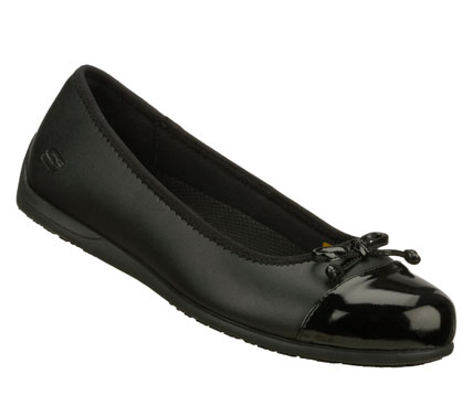 Entertainment Elegant style meets surefooted safety in the SKECHERS Work: Flattery - Skimma SR shoe.  Smooth leather upper in a slip on dress casual work slip resistant ballet skimmer flat with stitching accents and patent detail. - $60.00