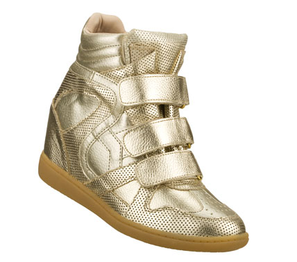 Entertainment Gleaming glamour lifts your spirits in the SKECHERS SKCH Plus 3 - Gwenyth shoe.  Metallic leather and synthetic upper in a three strap front casual high top hidden wedge sneaker with stitching; overlay and perforation accents. - $90.00