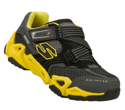 Go ahead and defy gravity wearing the SKECHERS Air-Mazing Kid: Fierce Flex - Gravitron shoe.  Leather; synthetic and mesh fabric upper in a zigzag strap front sporty casual training sneaker with stitching and overlay accents. - $47.00