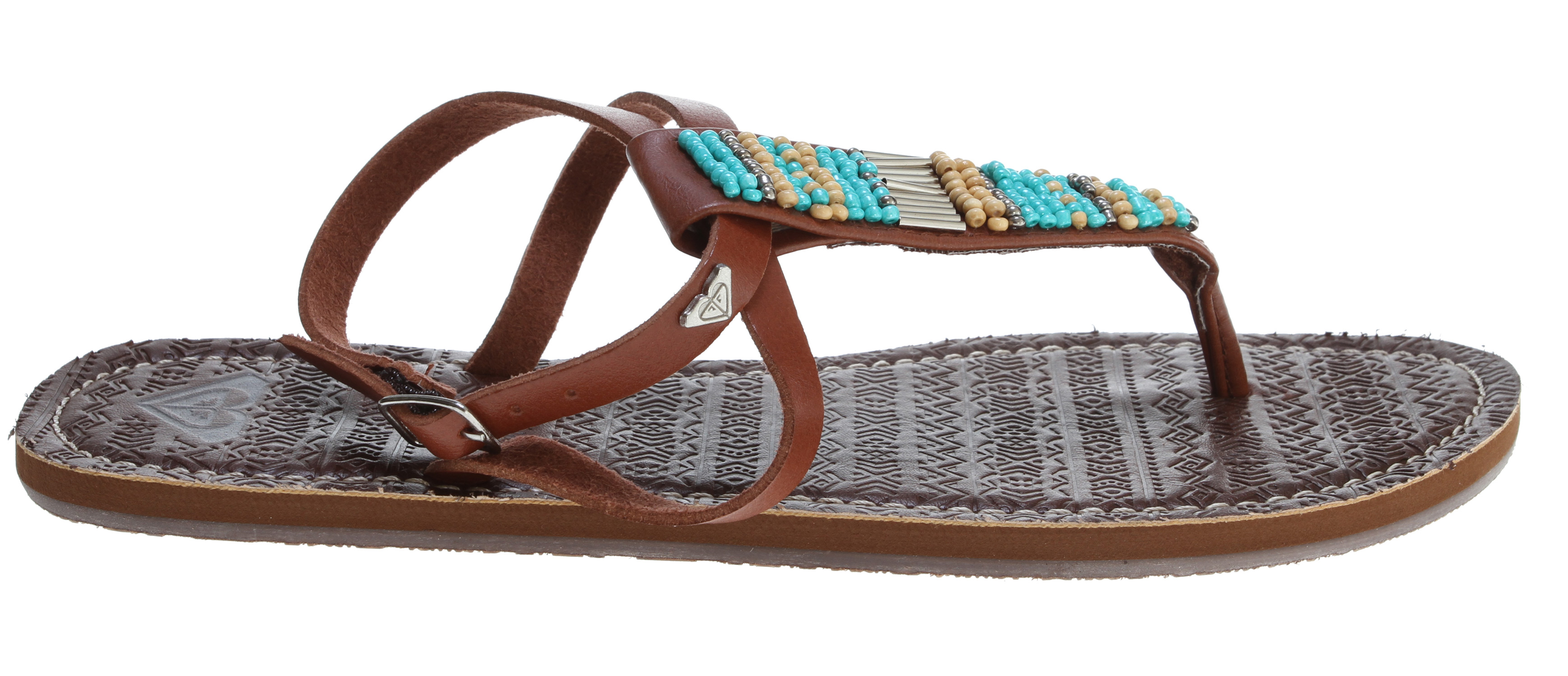 Surf Key Features of the Roxy Antigua Sandals: Wood and bead ornamented t-strap sandal Micro suede lining Embossed footbed Soft EVA insole TPR outsole - $26.95