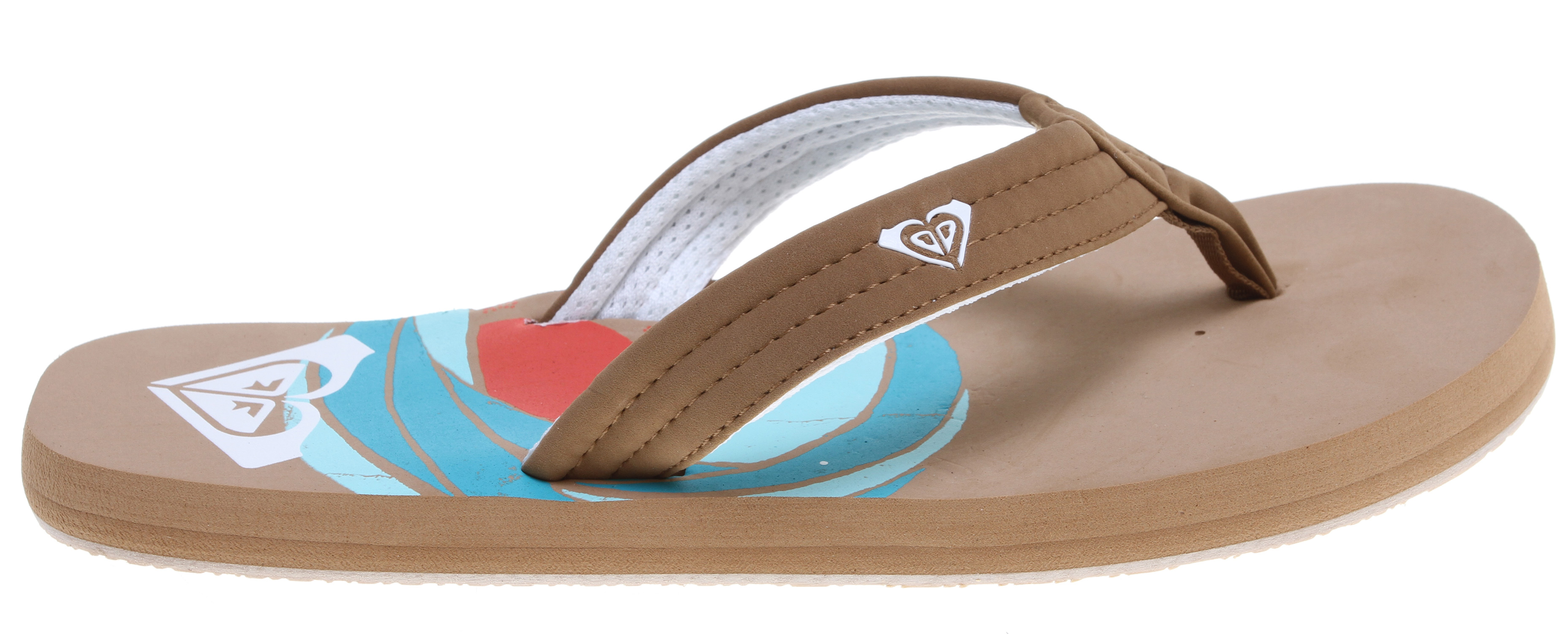 Surf Low tide, high tide, and everything in between! Our Low Tide Sandals are perfect for beach days and trips to the pool! Designed from water-friendly synthetic nubuck, we added a soft poly-web lining and an 'active foam' footbed and arch support. Sweet and sporty, just how we love our cool flip flops! Key Features of the Roxy Low Tide Sandals: Soft gel printing Rubber outsole Imported. - $15.95