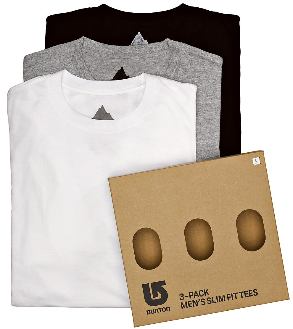 Snowboard Key Features of the Burton 3 Pack Slim Fit T-Shirts: Slim Fit 50% Cotton, 50% Polyester [Heather Gray] 100% Cotton [White and True Black] Pre-Washed Fabric with Silicone Treatment Woven Label on Front - $35.00