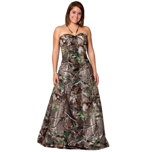 Hunting Realtree Long A-Line Gown with Rhinestone Neck   $415