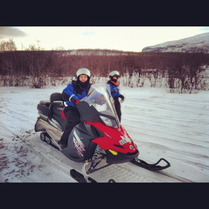 Snowmobile That's a photo of Alberto on our snowmobile in Abisko, the Swedish Lapland - with @Aurora Zone!