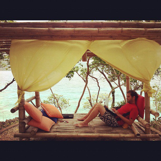 Entertainment Our new office: a bamboo daybed by the beach. #philippines #wjasia #travel - @panetes http://instagr.am/p/H0RrOKrFa9/