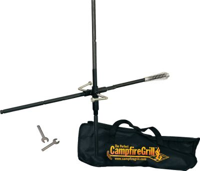 Camp and Hike Enjoy traditional campfire cooking with CampfireGrills easy-to-use pot dangler. Made of 5/8-thick steel, the T-shaped design extends a pot over the fire without the need for a cooking surface. Drive the 34 skake 8 to 10 into sturdy, supportive ground next to your campfire, and adjust the horizontal bars height above the flames. Hang a kettle or Dutch oven (not included) from the end of the horizontal bar to bring water to a boil, then raise the bar up for simmering. Ringed notches in the bar hold wire handles securely. Includes all assembly hardware, adjustment wrenches and nylon carry bag. Imported. - $34.99